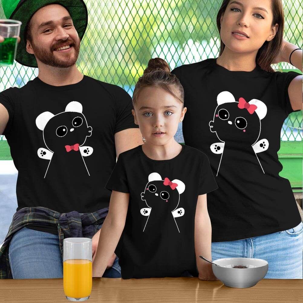Panda Anne Baba ve Kız Çocuk Tişört Kombini (1)