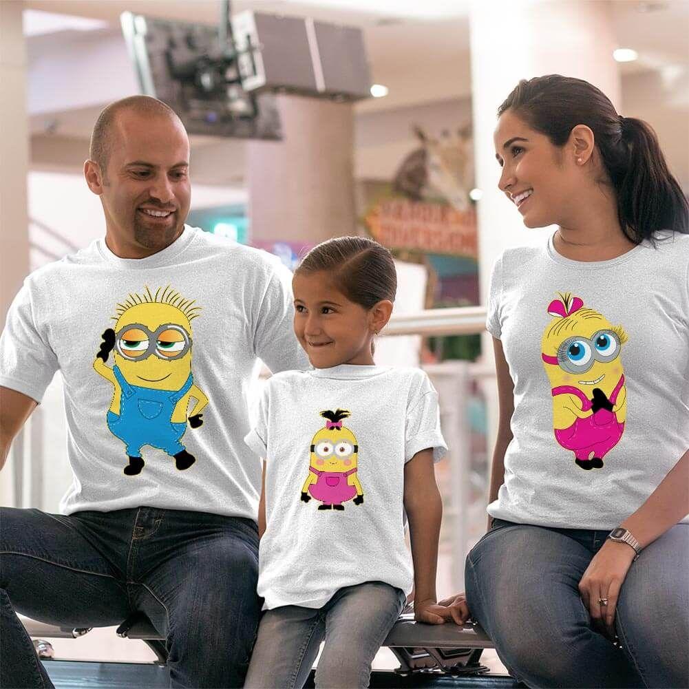 Çılgın Hırsız Minyonlar Anne Baba ve Kız Çocuk Tişört Kombini