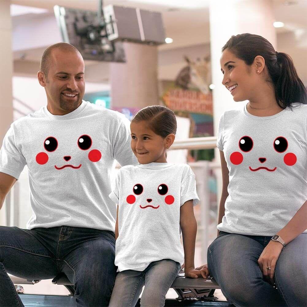 Pikachu Anne Baba ve Kız Çocuk Tişört Kombini