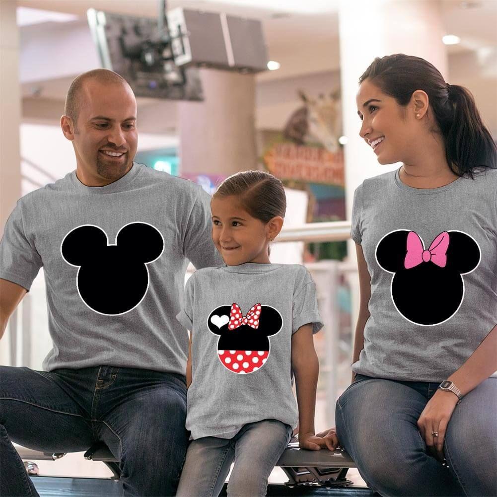 Mickey ve Minnie Mouse Anne Baba ve Kız Çocuk Tişört Kombini (1)