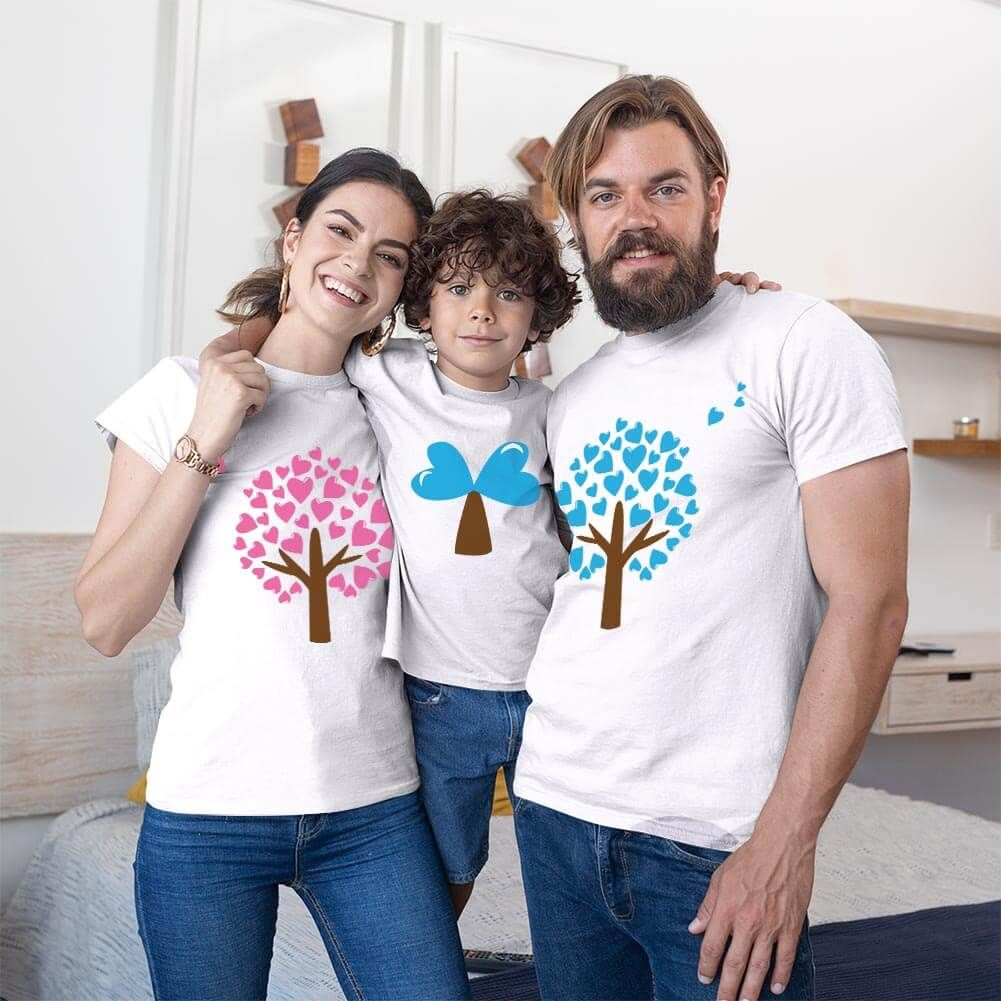 Aşk Ağaçları Anne Baba ve Erkek Çocuk Tişört Kombini