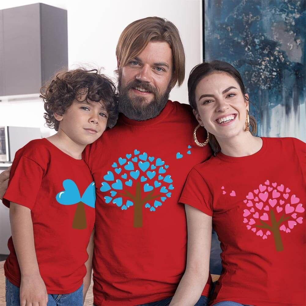 Aşk Ağaçları Anne Baba ve Erkek Çocuk Tişört Kombini (1)