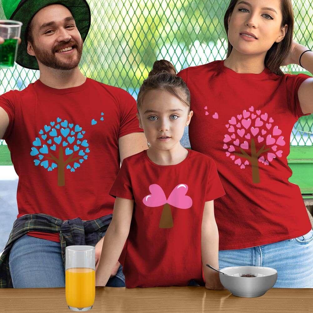 Aşk Ağaçları Anne Baba ve Kız Çocuk Tişört Kombini