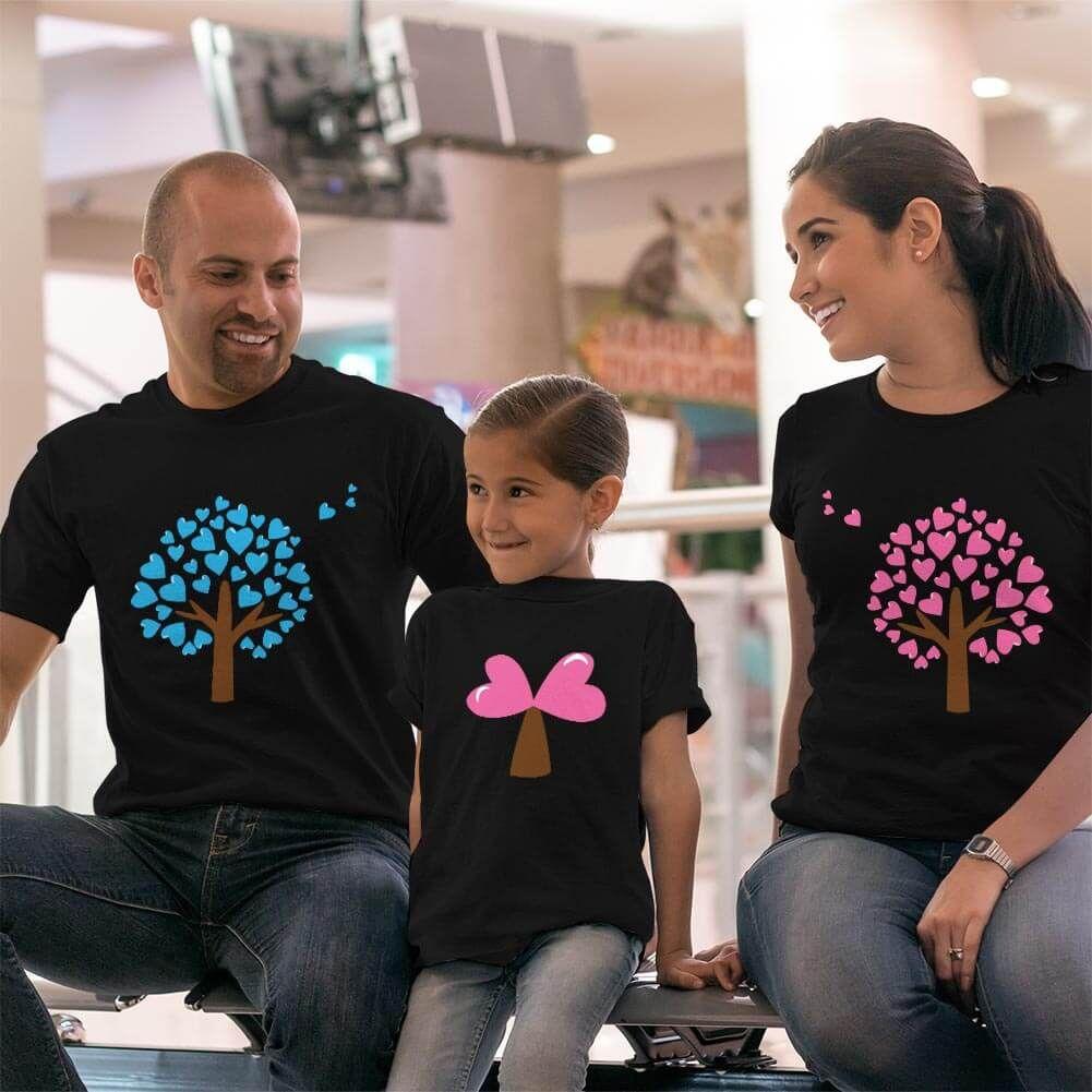 Aşk Ağaçları Anne Baba ve Kız Çocuk Tişört Kombini (1)