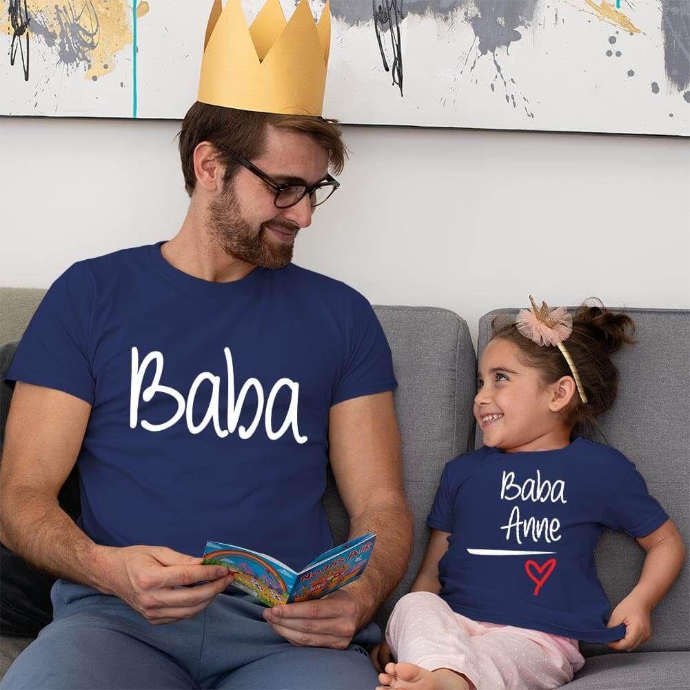 Anne Baba Sevgisi Tasarımlı Baba ve Kız Çocuk Kombini