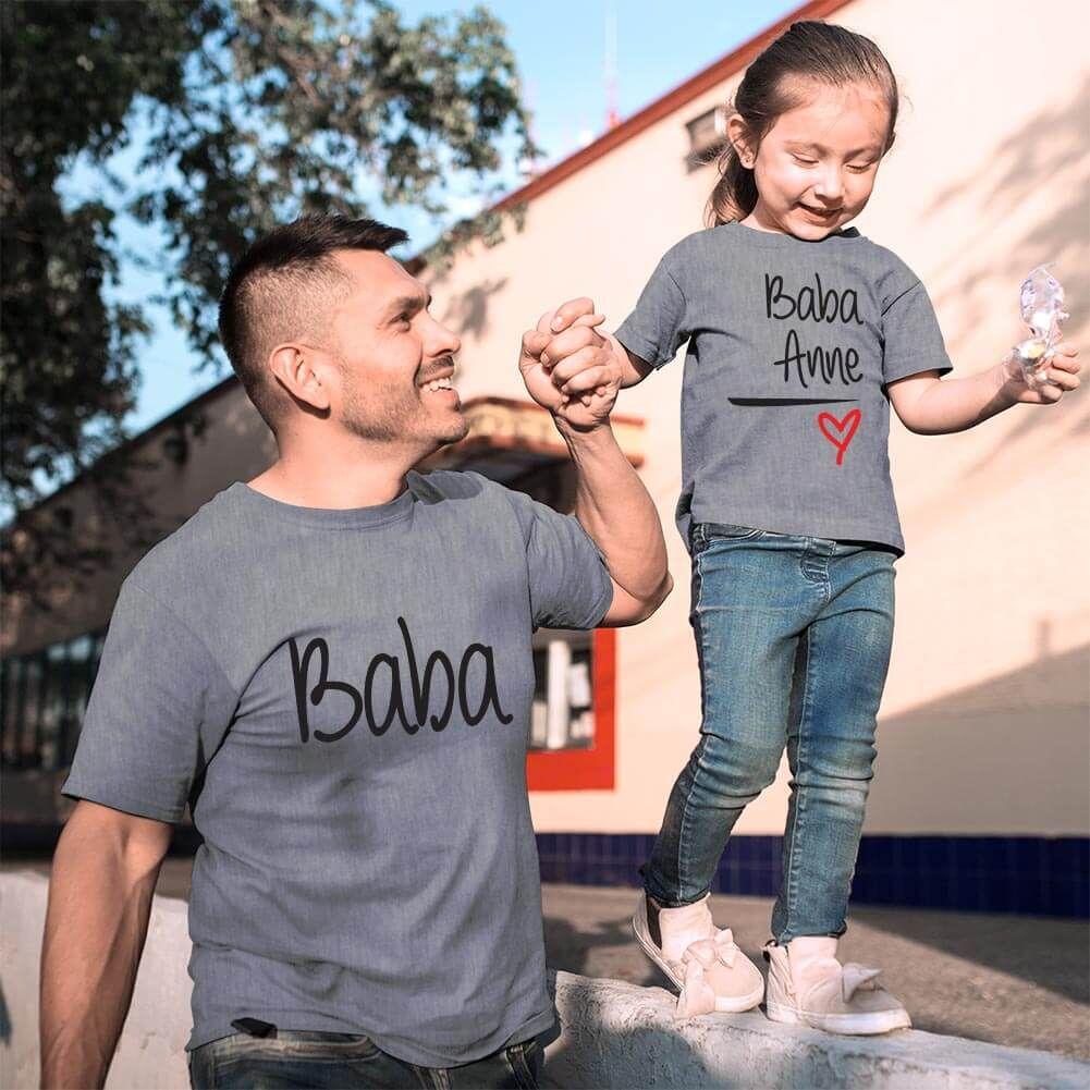 Anne Baba Sevgisi Tasarımlı Baba ve Kız Çocuk Kombini (1)
