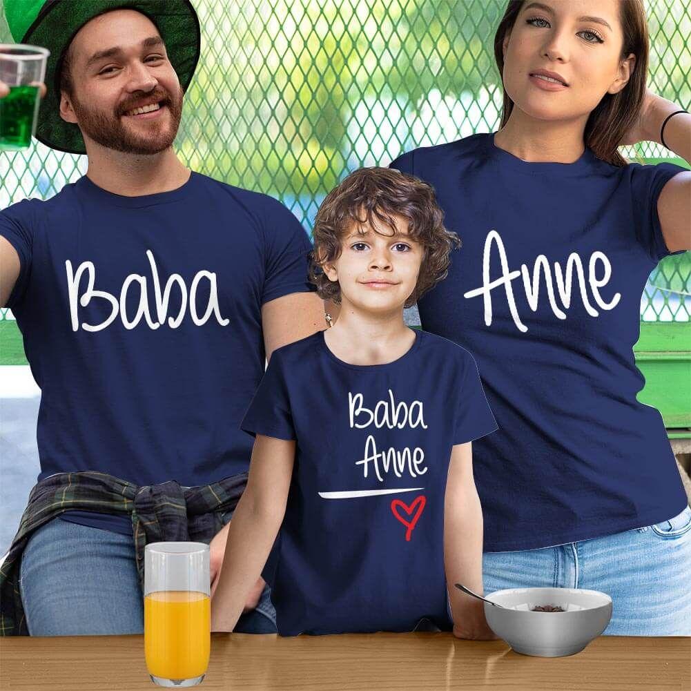 Anne Baba Sevgisi Tasarımlı Baba,Anne ve Erkek Çocuk Kombini (1)