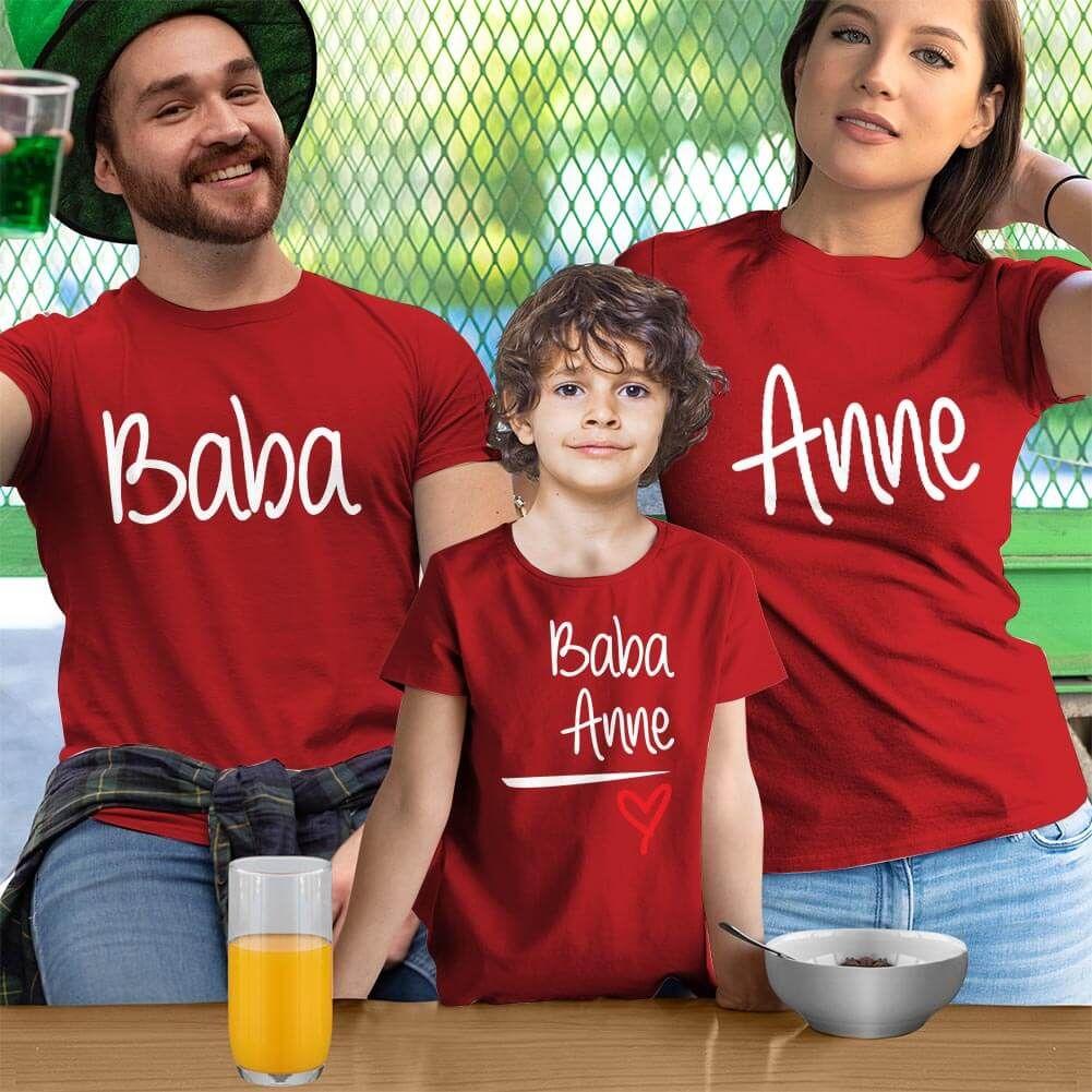 Anne Baba Sevgisi Tasarımlı Baba,Anne ve Erkek Çocuk Kombini