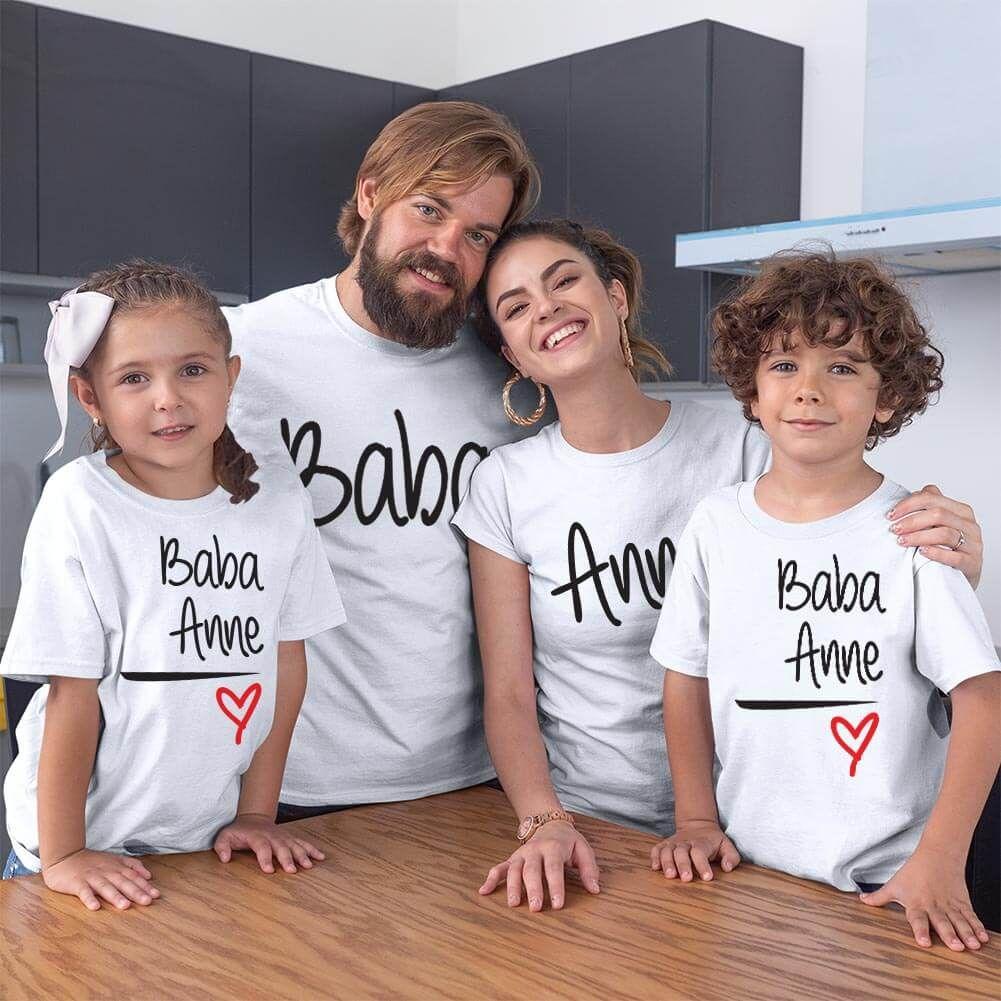Anne Baba Sevgisi Tasarımlı Baba,Anne ve Çocuk Kombini