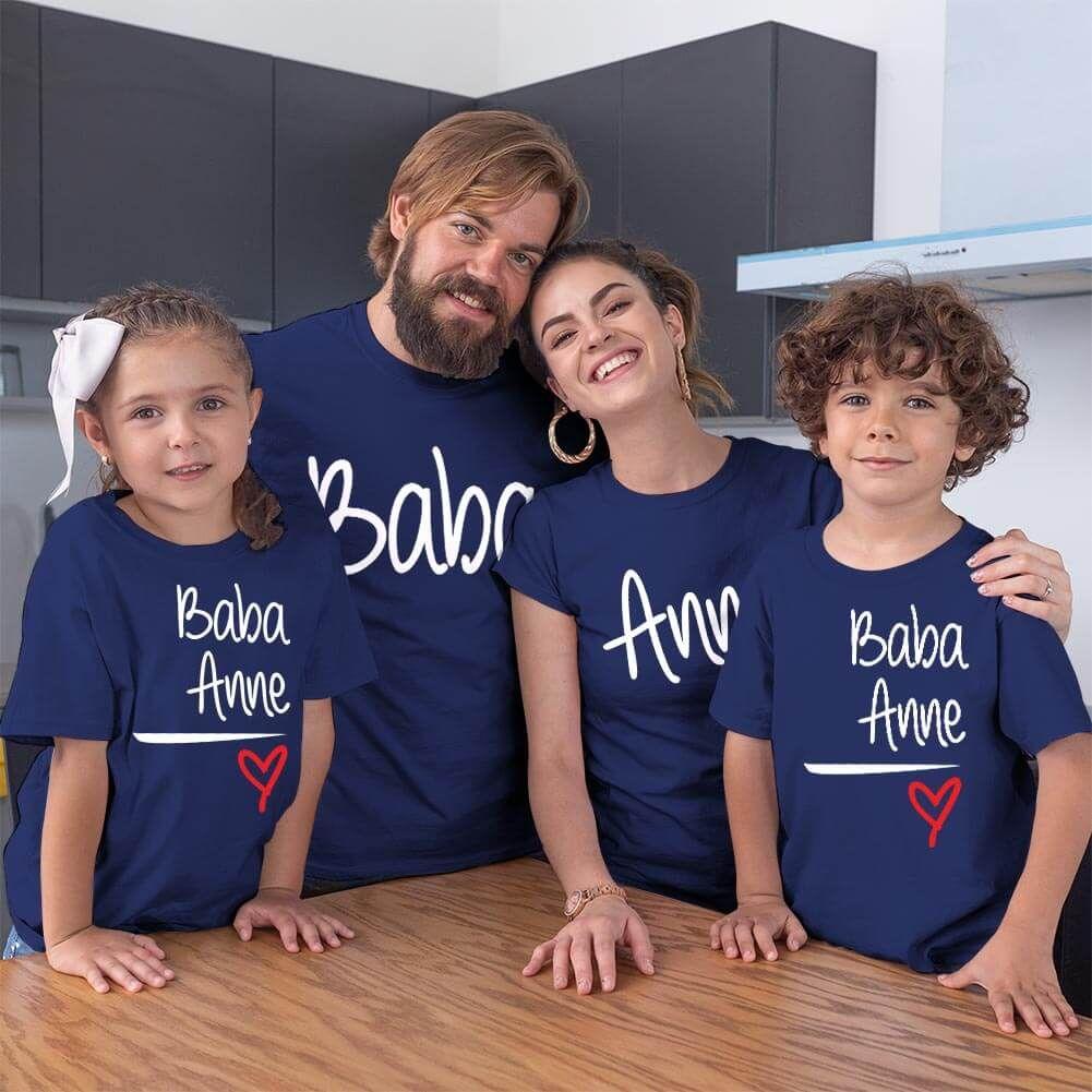 Anne Baba Sevgisi Tasarımlı Baba,Anne ve Çocuk Kombini (1)