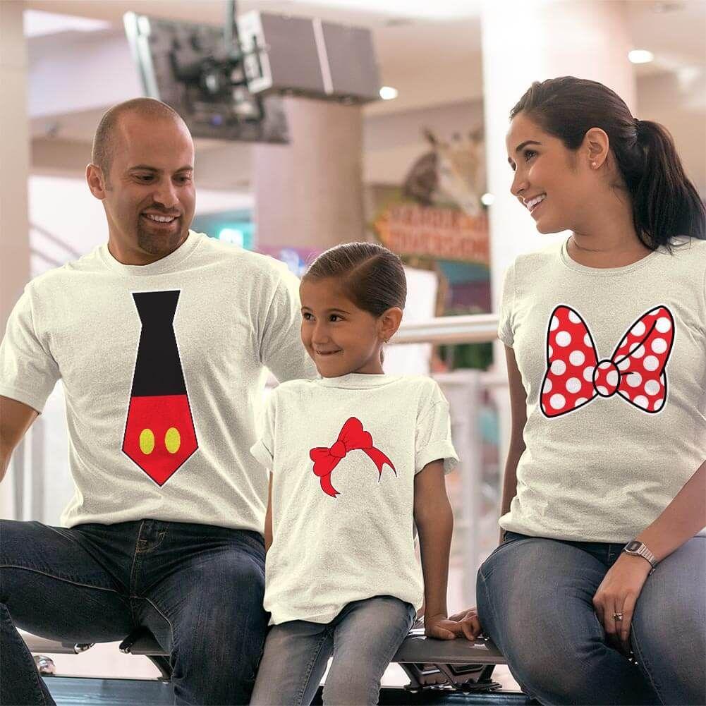 Disney Temalı Anne Baba ve Kız Çocuk Kombini