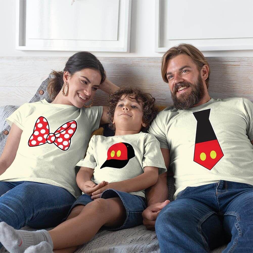 Disney Temalı Anne Baba ve Erkek Çocuk Kombini