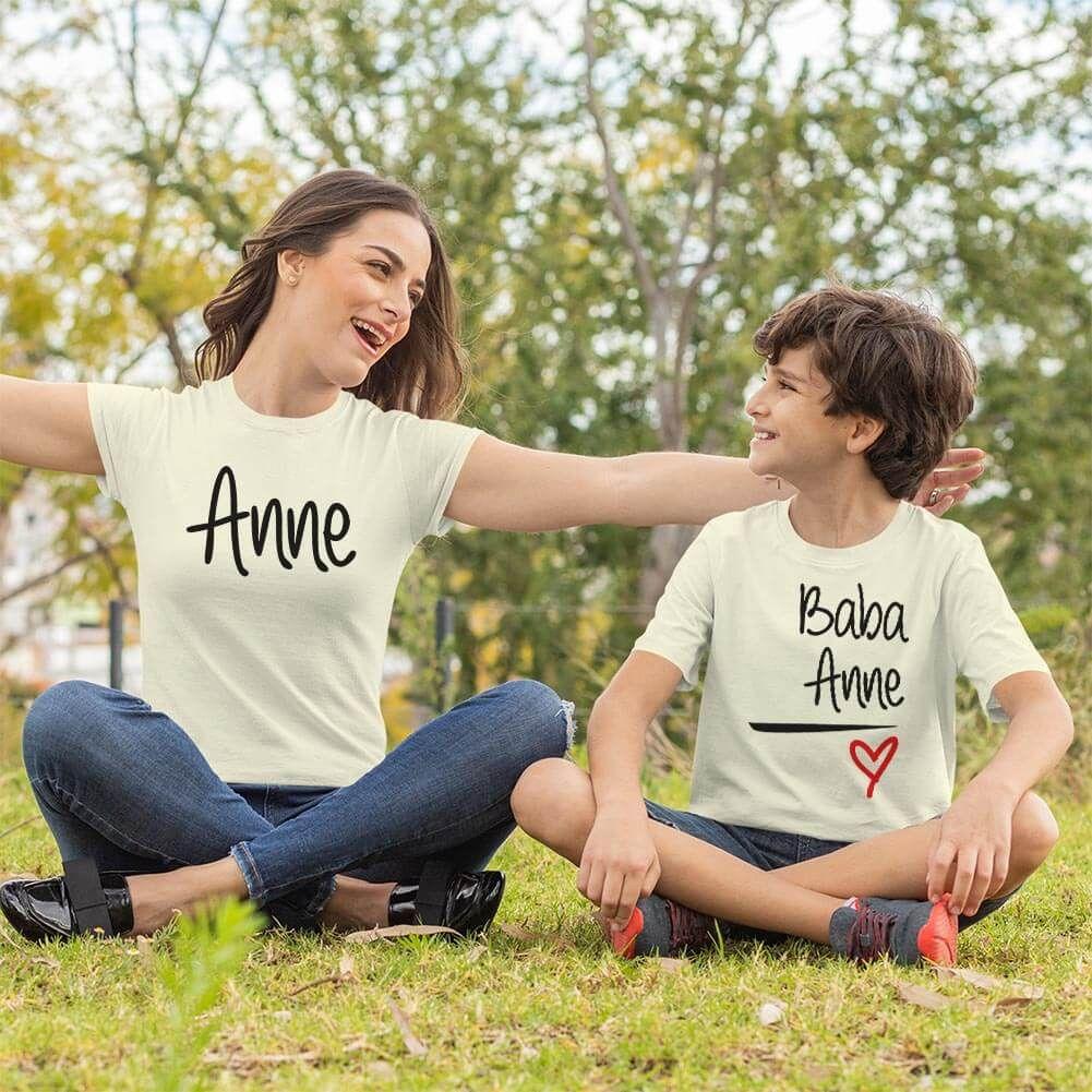 Anne Baba Sevgisi Tasarımlı Anne ve Erkek Çocuk Kombini