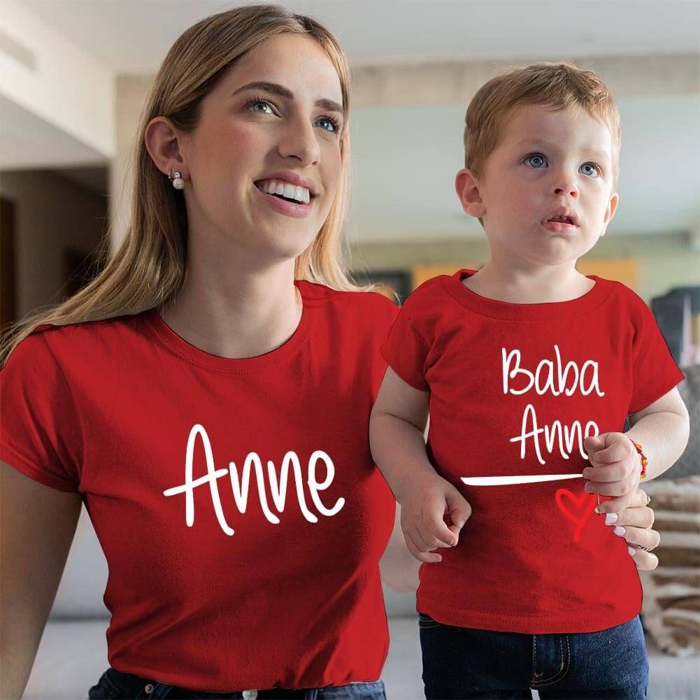 Anne Baba Sevgisi Tasarımlı Anne ve Erkek Çocuk Kombini (1)