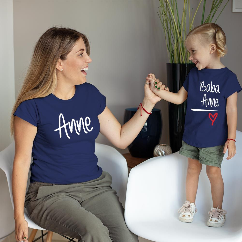Anne Baba Sevgisi Tasarımlı Anne ve Kız Çocuk Kombini