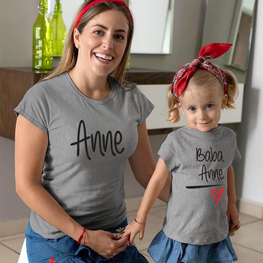 Anne Baba Sevgisi Tasarımlı Anne ve Kız Çocuk Kombini (1)