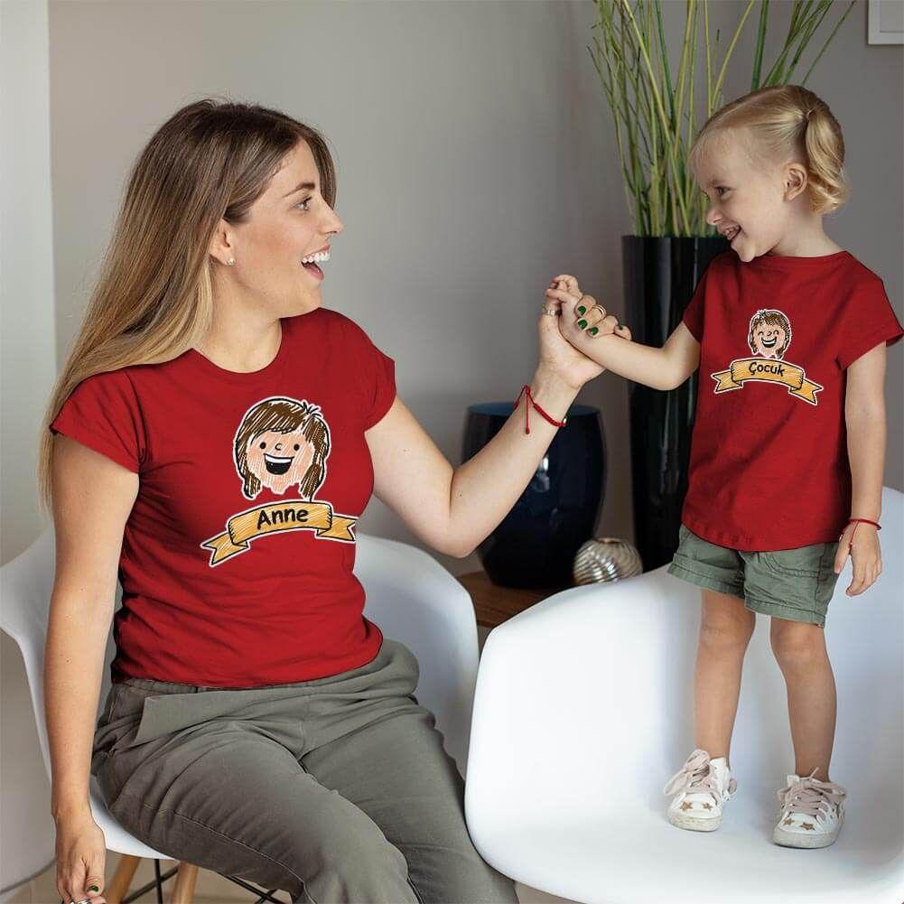 Aile Temalı Anne Kız Çocuk Tişört Kombini