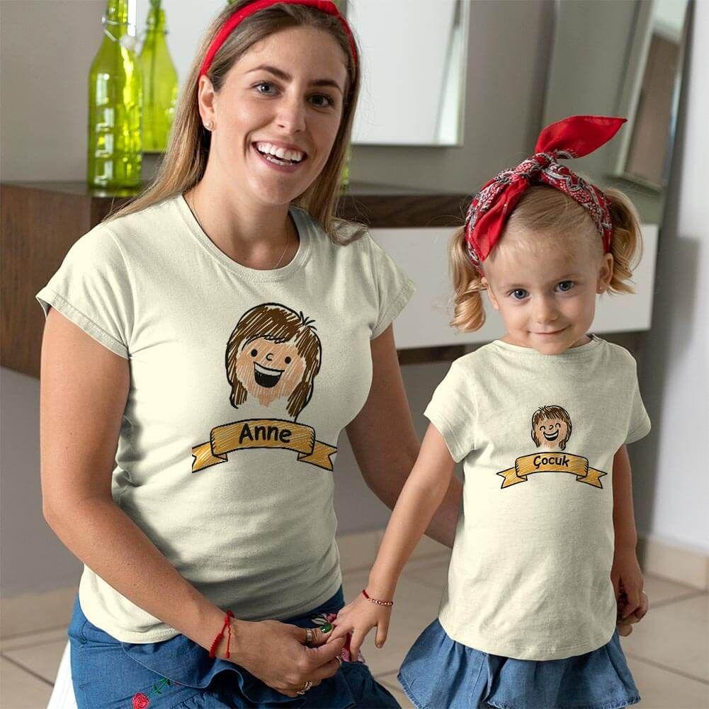 Aile Temalı Anne Kız Çocuk Tişört Kombini (1)