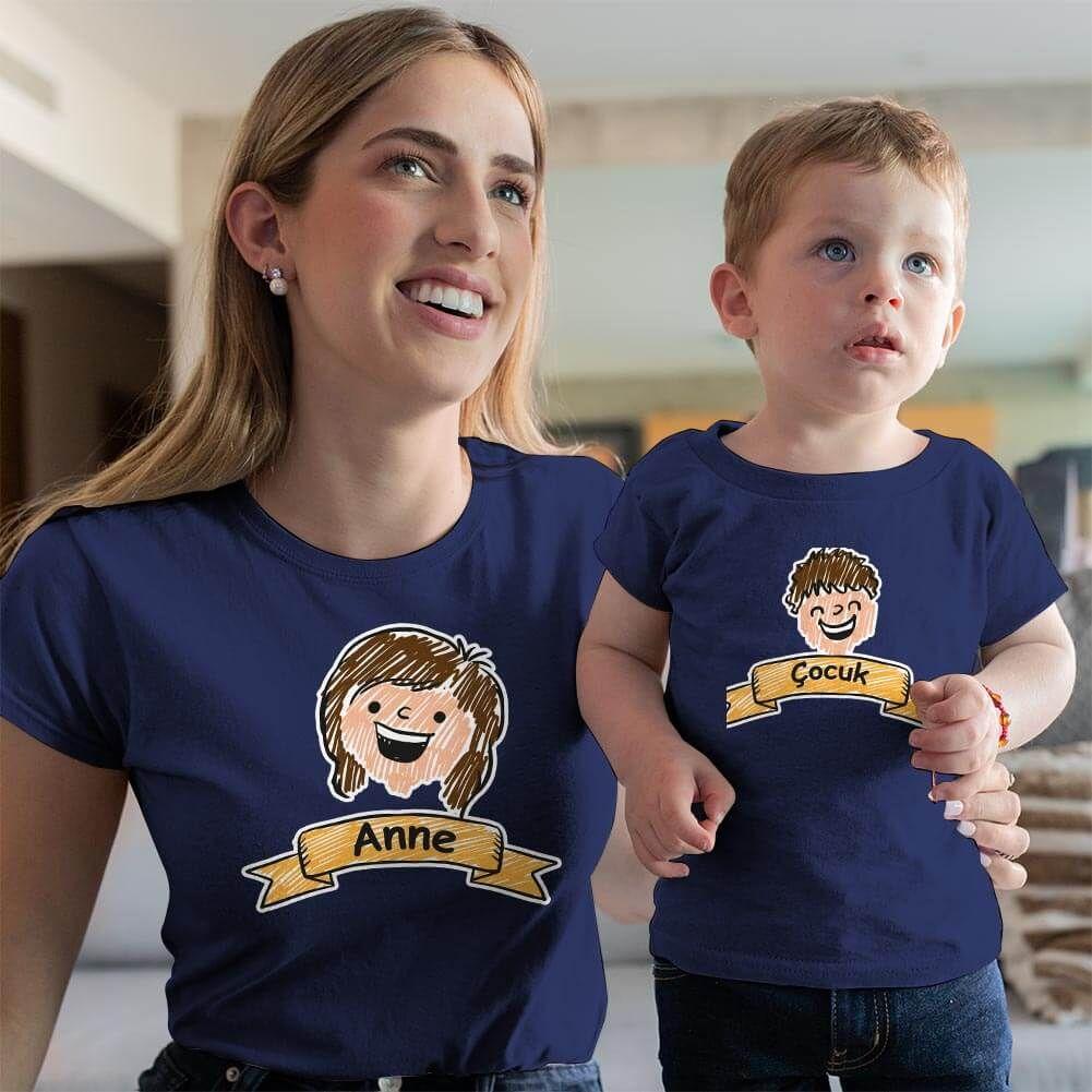 Aile Temalı Anne Erkek Çocuk Tişört Kombini