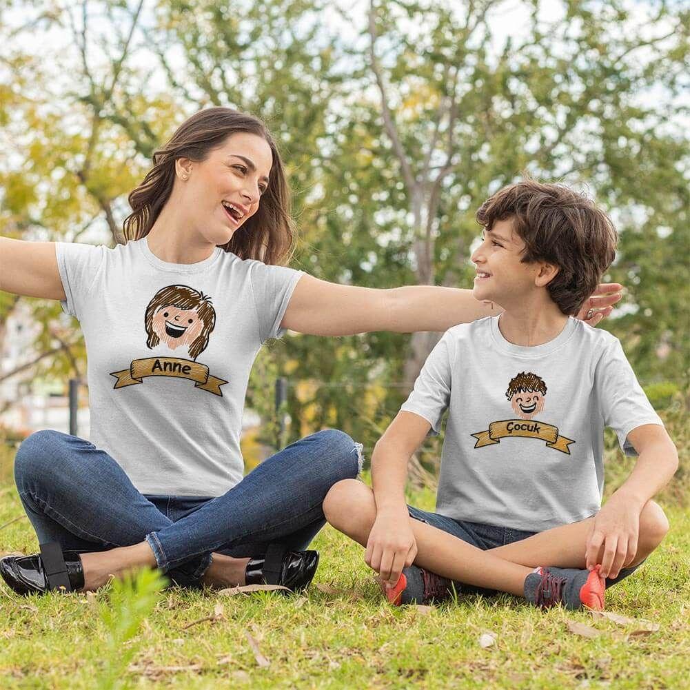 Aile Temalı Anne Erkek Çocuk Tişört Kombini (1)