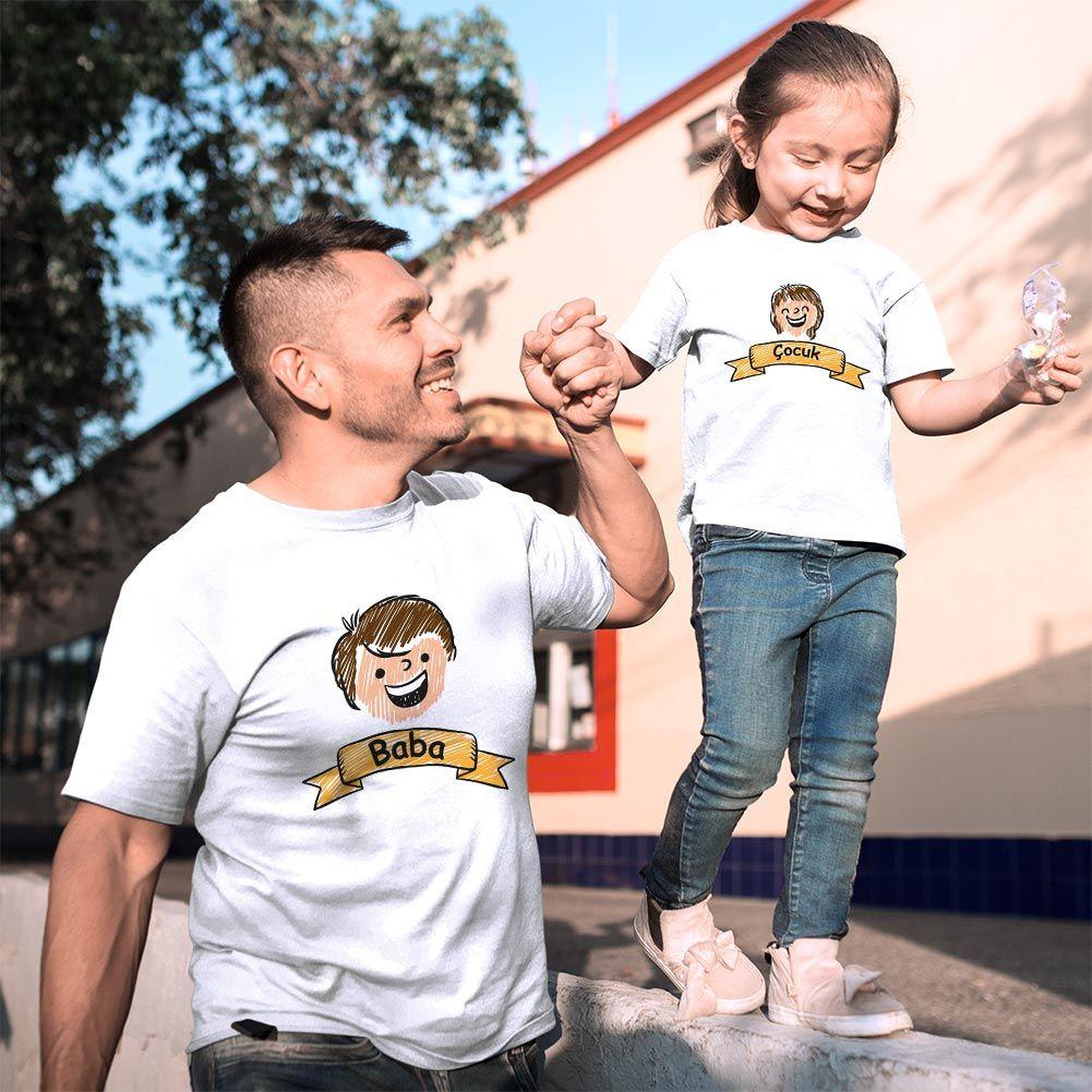 Aile Temalı Baba Kız Çocuk Tişört Kombini