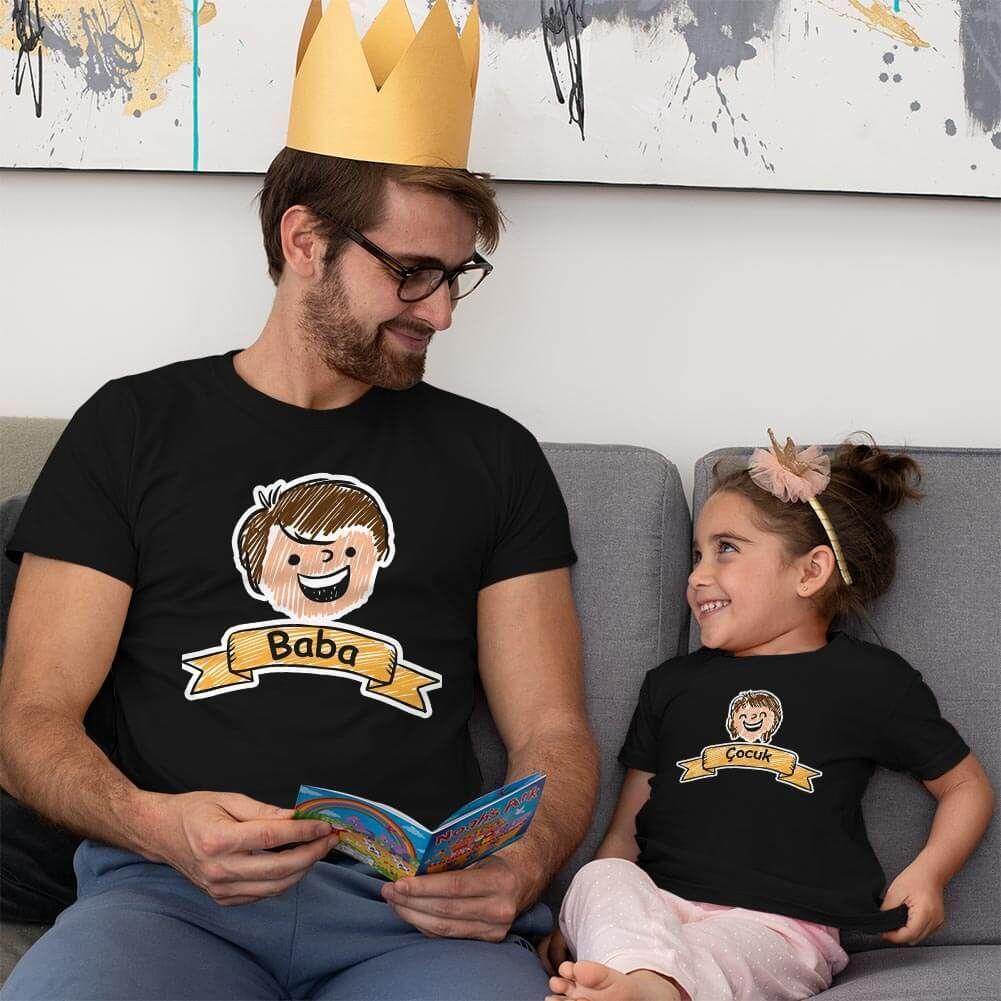 Aile Temalı Baba Kız Çocuk Tişört Kombini (1)