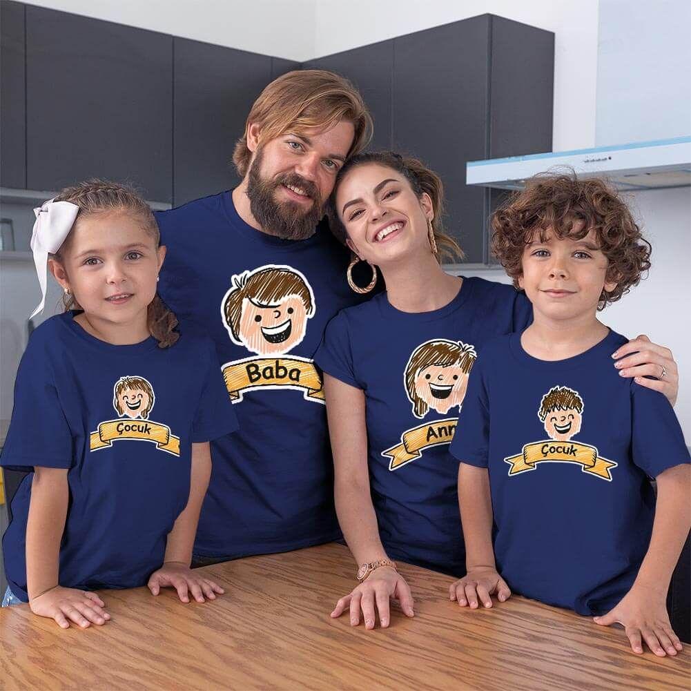 Aile Temalı 4'lü Tişört Kombini