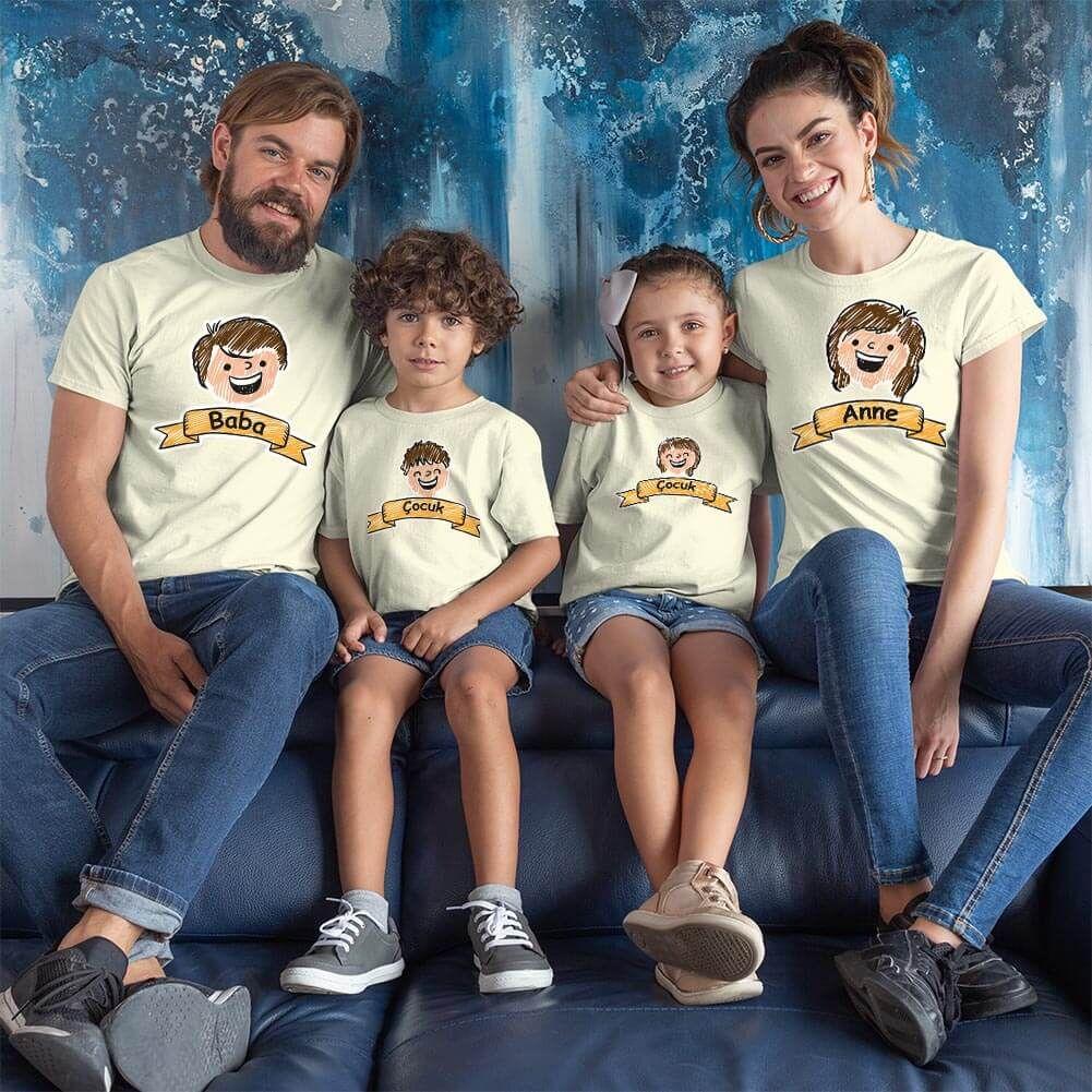 Aile Temalı 4'lü Tişört Kombini (1)