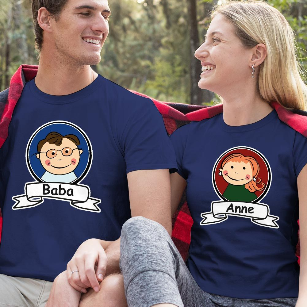 Anne ve Baba Resimli Sevgili Tişört Kombini