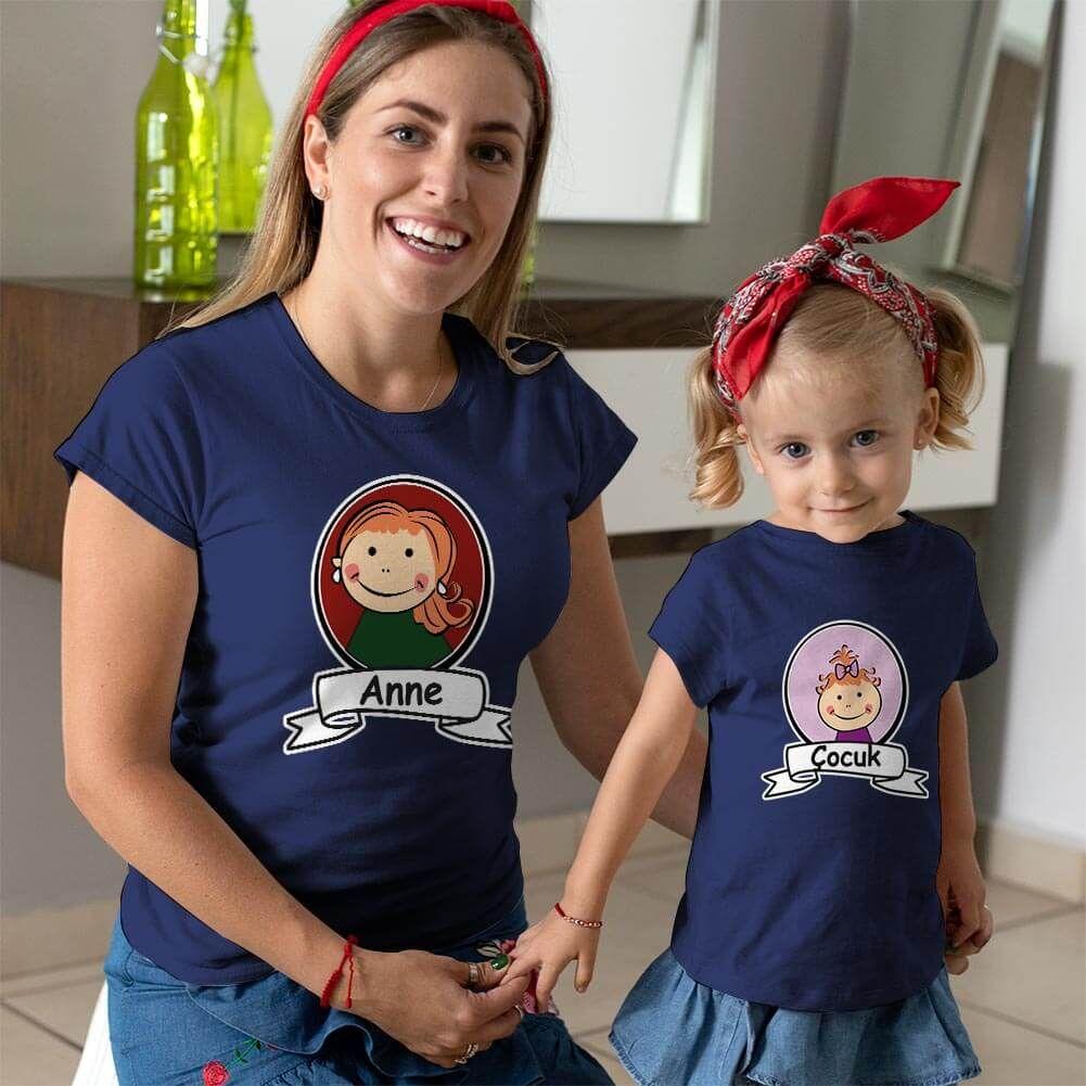 Anne Kız Çocuk Resimli Tişört Kombini