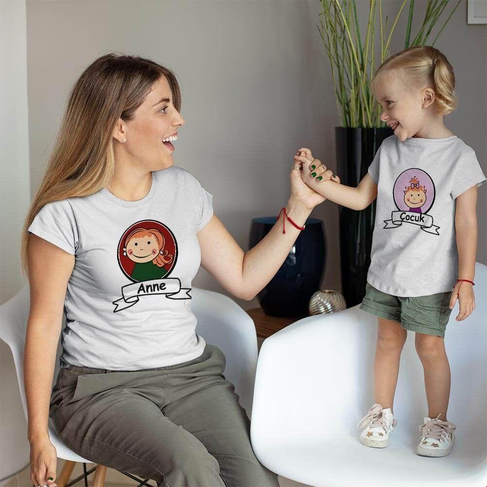 Anne Kız Çocuk Resimli Tişört Kombini (1)