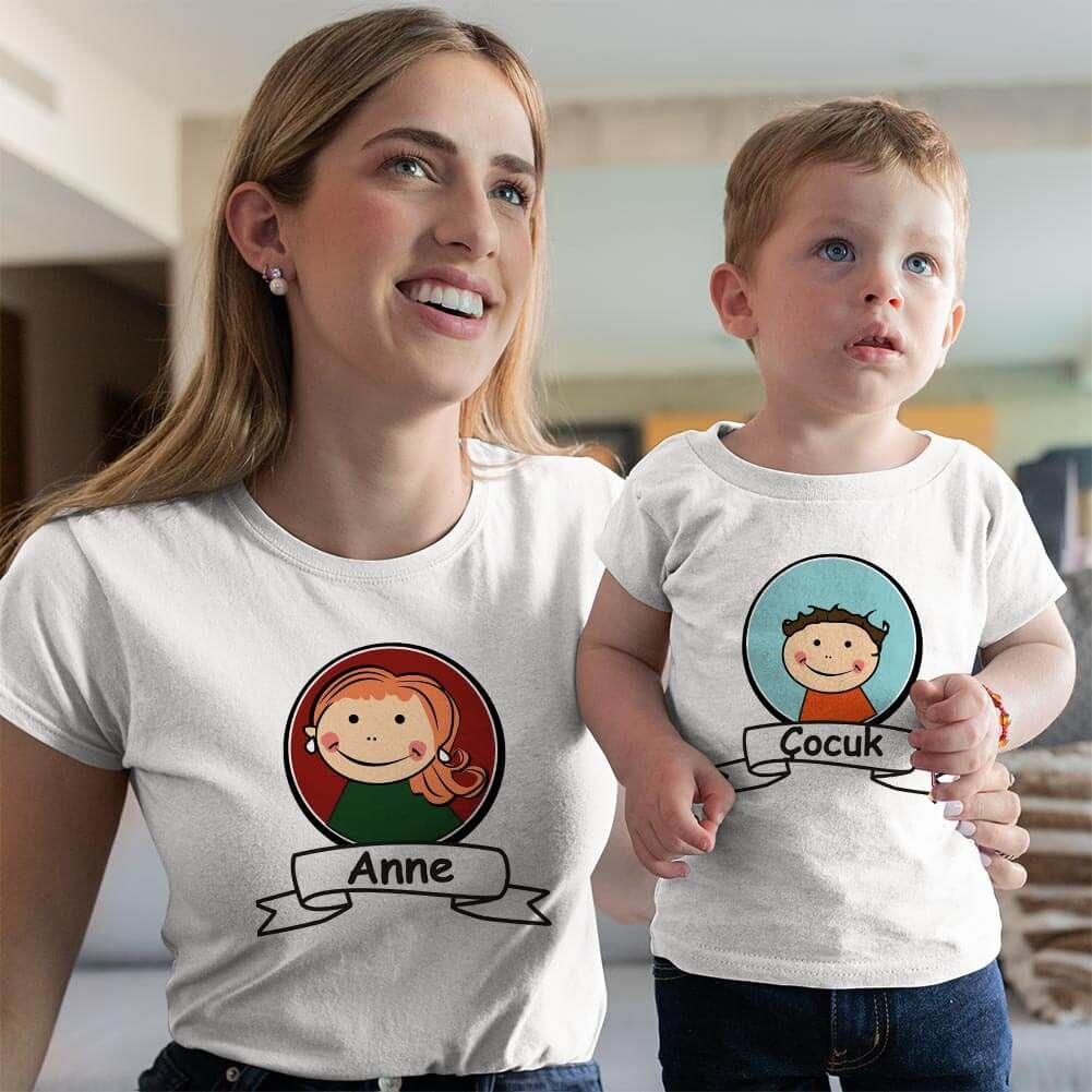 Anne Erkek Çocuk Resimli Tişört Kombini