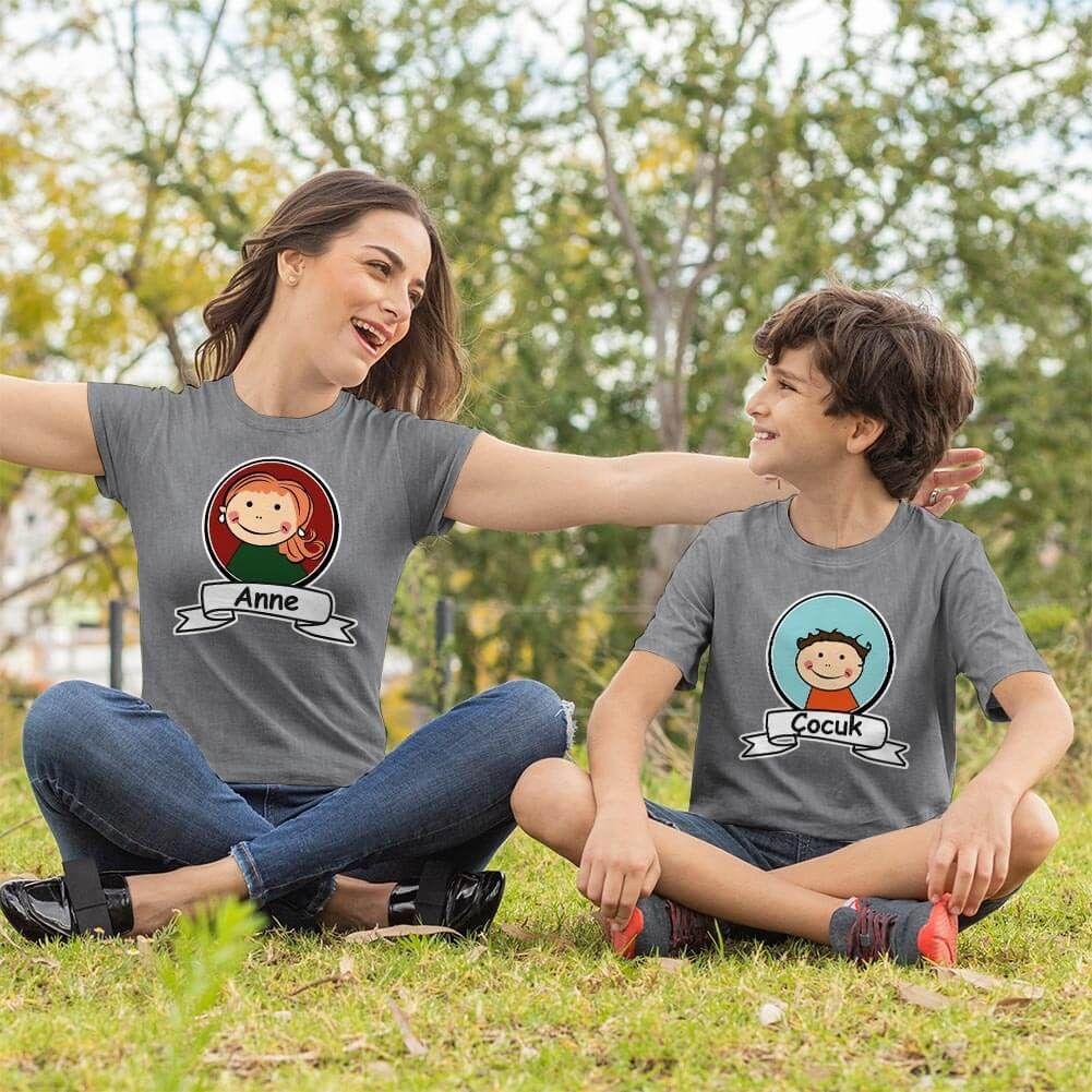 Anne Erkek Çocuk Resimli Tişört Kombini (1)