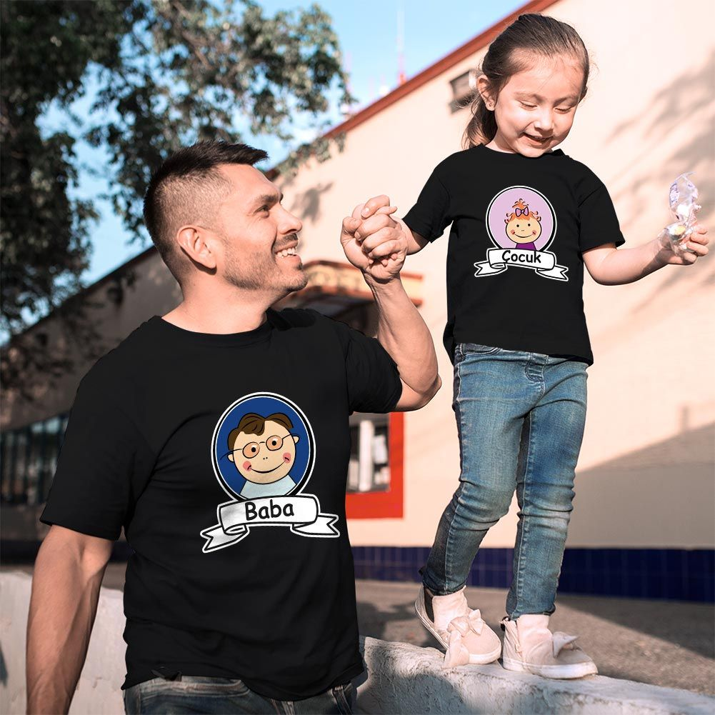 Baba Kız Çocuk Resimli Tişört Kombini