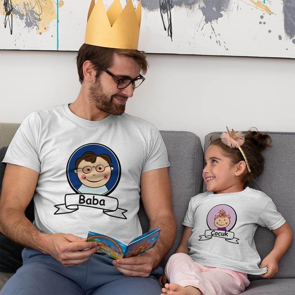 Baba Kız Çocuk Resimli Tişört Kombini (1)