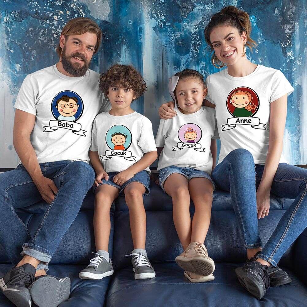 Anne Baba ve Çocukları Resimli Tişört Kombini (1)