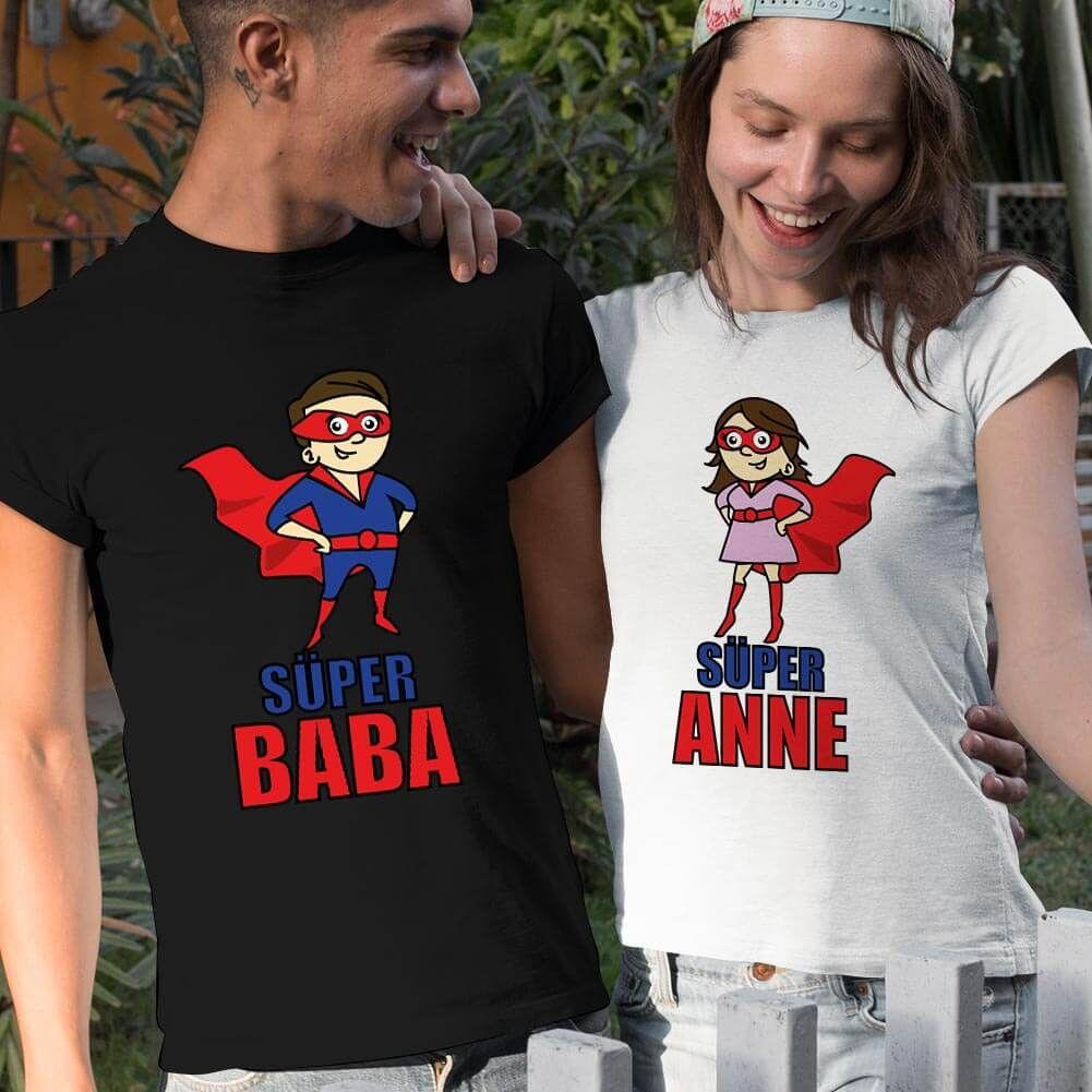 Süper Anne ve Baba Sevgili Tişört Kombini