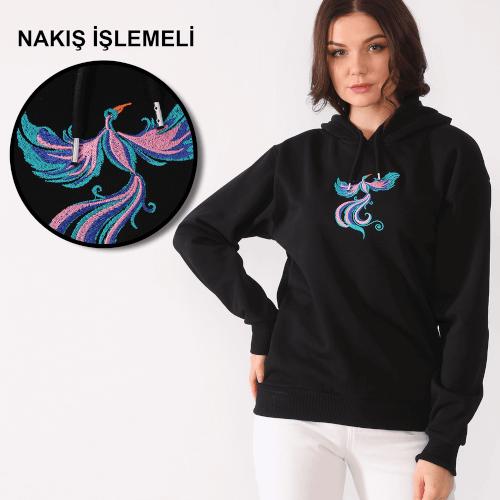 Tisho - Anka Kuşu Desenli Nakış İşlemeli Siyah Kadın Kapüşonlu Sweatshirt