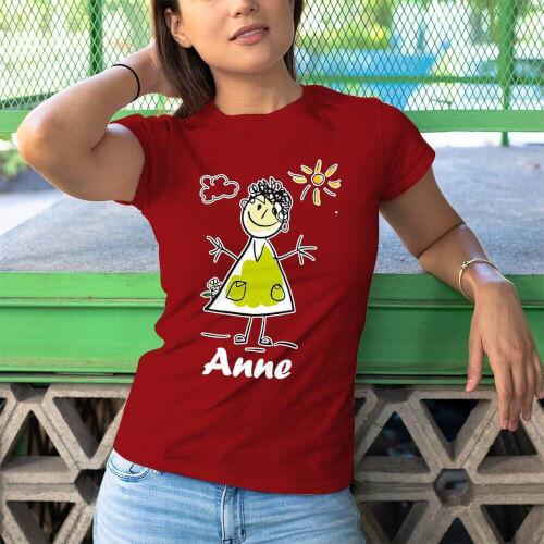 Tisho - Anne Çöp Adam Kadın Kısa Kol Tişört - Tekli Kombin