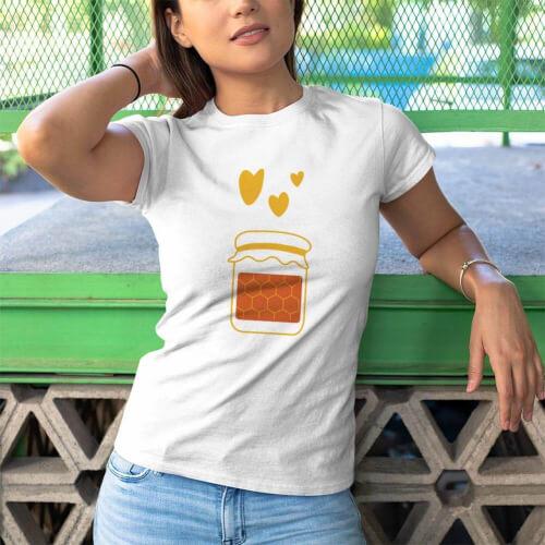 Tisho - Arım Balım Kadın Kısa Kol Tişört - Tekli Kombin