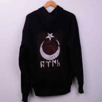 Tisho - Arka Baskılı Göktürk Kapşonlu Sweatshirt - L Beden, Siyah