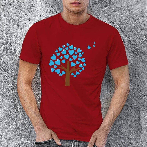 Aşk Ağacı Erkek Kısa Kol Tişört - Tekli Kombin - Thumbnail