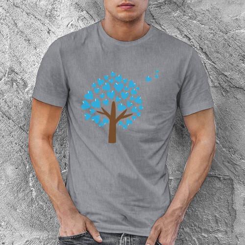 Aşk Ağacı Erkek Kısa Kol Tişört - Tekli Kombin