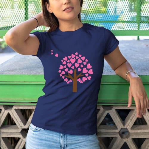 Tisho - Aşk Ağacı Kadın Kısa Kol Tişört