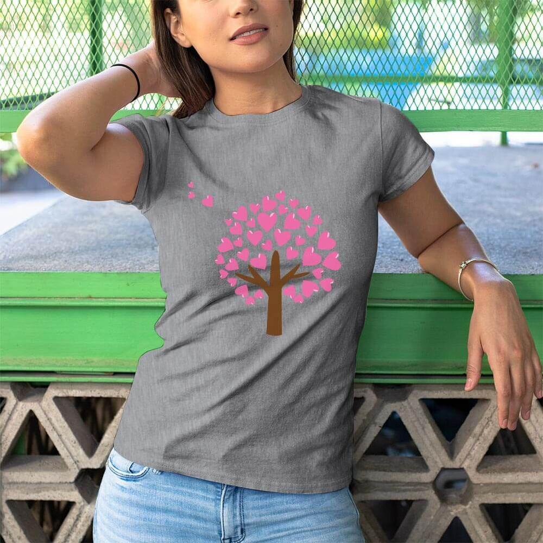 Aşk Ağacı Kadın Kısa Kol Tişört - Tekli Kombin