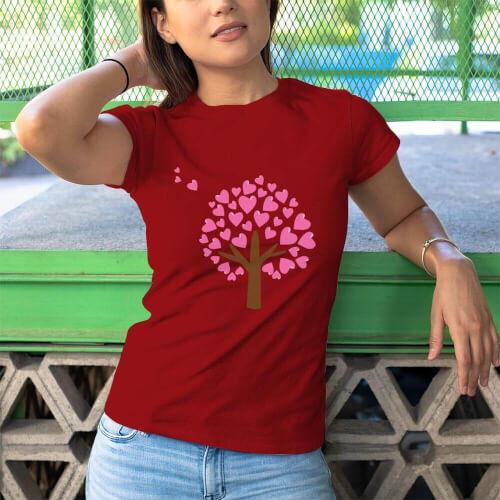 Aşk Ağacı Kadın Kısa Kol Tişört - Tekli Kombin - Thumbnail