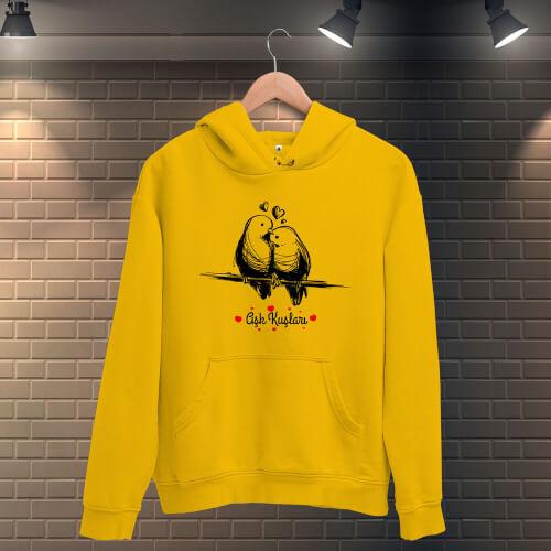 Tisho - Aşk Kuşları Kadın Kapüşonlu Sweatshirt