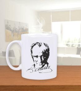 Zıkkım Tadında Giyim - Atatürk Portre Kupa 2 Beyaz Kupa Bardak