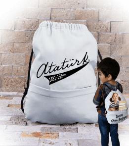 Gel Votendejj Gelll - Atatürk yazılı çanta Büzgülü Çocuk Sırt Çantası