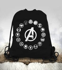 Geek-Shirt - Avengers Ekip Logoları Toplu Büzgülü spor çanta